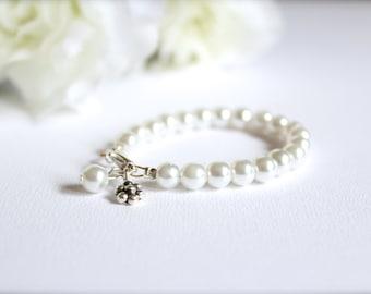Sterling Silver Flower Charm, Flower Girl Gift, Girls Pearl Bracelet Flower Girl, Flower Charm -- FREE Gift Packaging