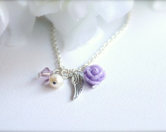 Real Pearl & Angel Wing, Lavender Flower, Girls Necklace, Flower Girl Gift, Communion Gift, Inspirational Jewelry -FREE Gift Packaging