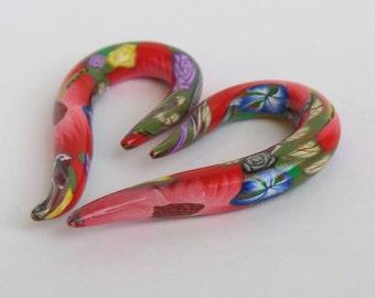 Ear plugs, Floral Ear Plugs, 00g, 2g Polymer Clay Ear Plugs, Flower ear plugs, Artisan Ear plugs, Body jewelry, handmade ear plugs