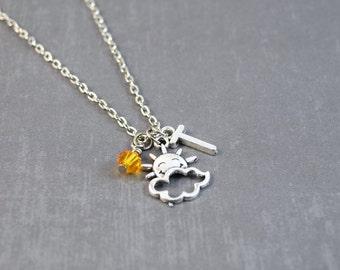 Silver Sun Necklace - Sunshine Pendant - Weather Necklace - Personalized Necklace - You Are My Sunshine Necklace - Sunshine Jewelry - Cloud