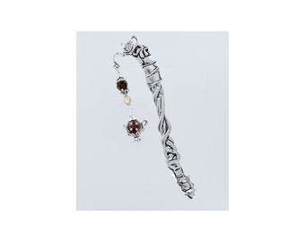 BEADED BOOKMARK Brown Swarovski Crystal with Pewter and Pearl Teapot Charm