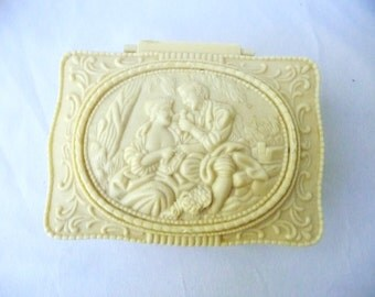 Ornate Faux Ivory Footed Hinged Lidded Trinket Box