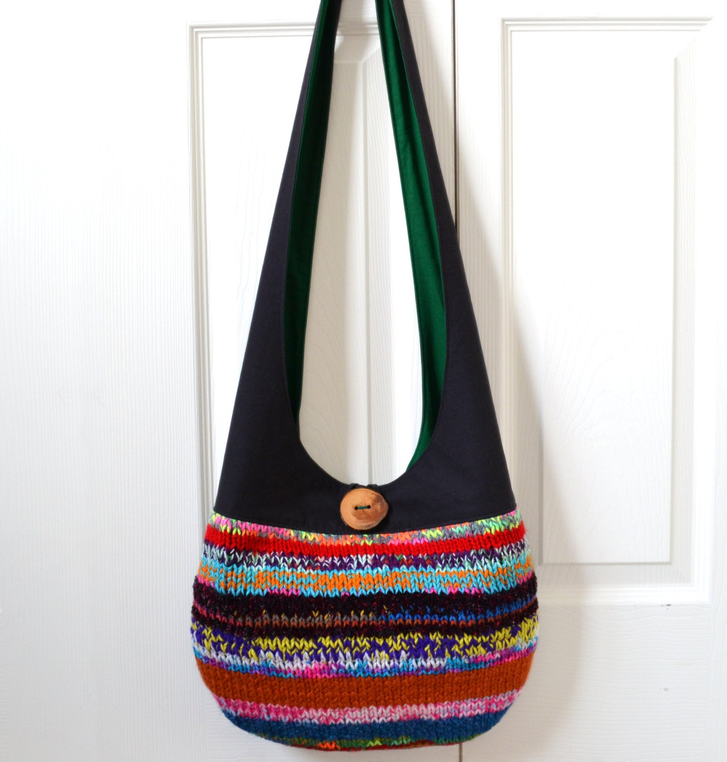 Knitted Sling Bag : Hobo Bag Sling Bag Knitted Patchwork Neon Colorful by 2LeftHandz