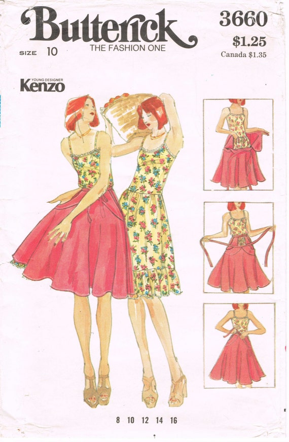 butterick 3660 vintage 1970s sewing pattern kenzo young
