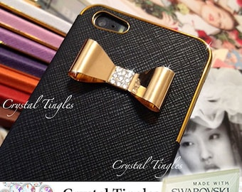 New Lovely Sparkle Stylish 3D Gold or Silver Crystal Diamond Metal Bow Design Synthetic Leather Hard Case For iPhone 5S / 6 / 6 Plus