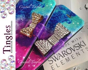 Galaxy Stardust Saturn Planet Star Pattern 3D Crystal Diamond Studs Metal Bow ID Card Wallet Case iPhone 5S Made w/ Swarovski Elements