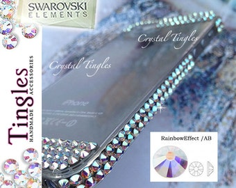 Exquisite 100% SWAROVSKI Elements Crystal Crystal Cover Bumper Case For iPhone SE 5S White Rose Gold Iridescent Rainbow Diamond