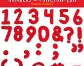 Numbers and Punctuation Motifs Crochet Pattern - PDF Digitial Download
