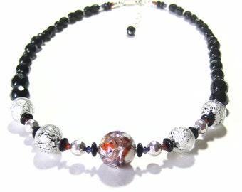 Murano Glass White Gold Black Plum Ball Necklace, Venetian Jewelry, Italian Glass Jewellery, Beaded Black Necklace, lampwork Glass Necklace