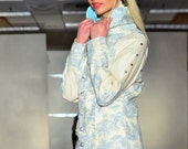 TMd: White baby blue belgium print. Hand painted buttons custom tailored with leather sleeves med runway discount
