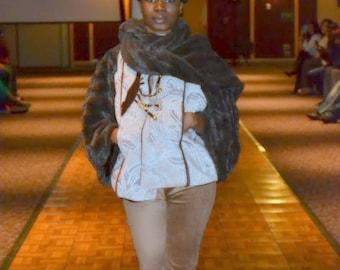 Custom  Tan Cream floral scroll cape coat. runway pc ready to ship