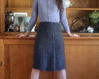 Charcoal Wool 50's Pencil Skirt / Bernhard Altmann