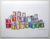 Thread spools art print sewing watercolor decor