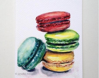 CLEARANCE Macaron art print macaroons 5x7 colorful kitchen decor watercolor