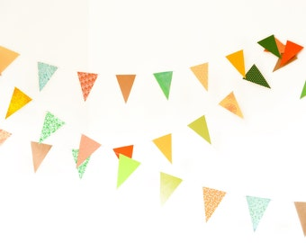 Flag garland with triangles in orange, gold, green yellow colors