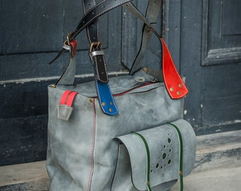Gray Oversized Leather Bag handmade
