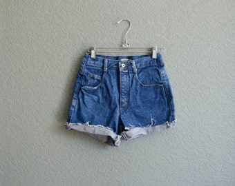 1980s XS/SML high waist dark blue denim cut off shorts ESPRIT