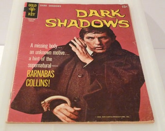 Dark Shadows Comic Book Vintage 1960s Barnabas Collins Vampire 1969 Gold Key 2 August Angelique Witch Jonathan Frid Goth TV Series Show