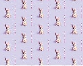 Kitsch Bunny Rabbit and Triangles Fabric Yardage, Cute Woodland Premium Printed Cotton, Choose Color