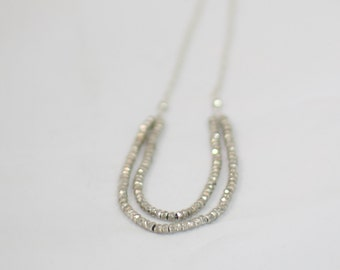 Silver Pyrite and Sterling Silver Chain Necklace