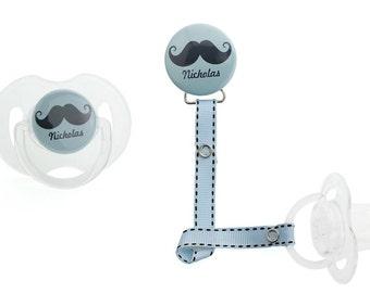 Personalized Name Blue Mustache Boy Pacifier Clip (PER 21) (MSRP 19.00)
