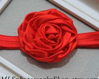 Satin Swirl Flower Headband for Baby Girl in Classic Red