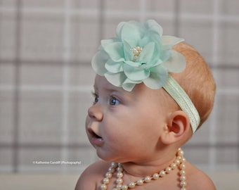 Minty Green and Pearl Flower Headband - Baby Girl Light Mint Green Hair Bow