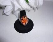 Orange Teardrop Glass Ring