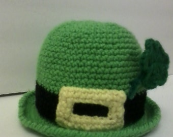 Children's Irish Leprechaun Bowler Style Hat with Shamrock