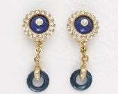 Italian Glass Vintage Rhinestone Blue Sparkling Earrings