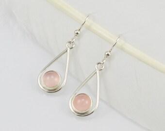 Rose Quartz Teardrop Earrings - Sterling Silver - Hand Fabricated