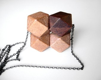 Wooden necklace, geometric necklace, statement necklace - The woodie necklace