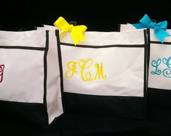 Set of 3 Personalized Bride Bridesmaid Tote Bags Monogram