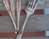 Gift Set 3 hand stamped HERB spoon handles with PEACE Sign fork Garden Markers flower pot (YOU pick the Herbs)