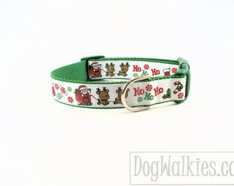 "Santa & The Reindeer Green Christmas Dog Collar / 1"" (25mm)wide / Choice of style and size - Martingale Dog Collars or Quick Release Buckle"