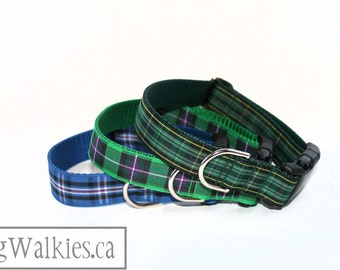"Celtic Tartan Dog Collar - FC Plaid Dog Collar - 1"" wide (25mm) - Quick Release or Martingale - Choice of collar style and size"
