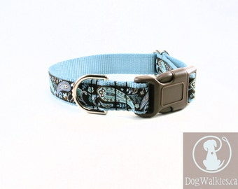 """Iced Chocolate Paisley Dog Collar // 1"""" (25mm) Wide // Martingale or Quick Release Buckle // Brown // Your Choice of style and size"""
