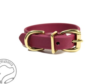 """Wine Merlot Biothane Dog Collar - 5/8"""" (16mm) wide - Leather Look and Feel - Small Dog Collar - Stainless Steel or Brass Hardware - Burgundy"""