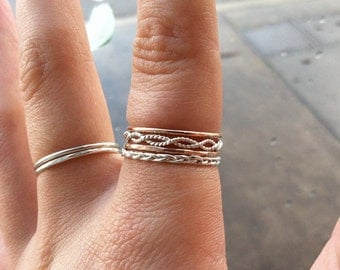 Set of 4 Sterling Silver and 14k Yellow/Rose Gold Fill Mixed Metal Stacking Rings - Braid, Infinity Twist, & 2 Bands, custom made to order