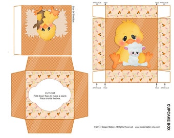 Digital Printable  Easter Cupcake Box  - DIY Bunny and Chick Cupcake Box