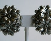 Chunky Bold Swirly & Pretty Metal Flower Clip On Earrings- Secret Enchanted Garden Silver Tone Antique Inspired Funky Casual Classy Romantic