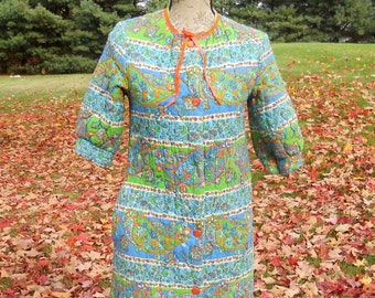 Vintage Quilted  Robe Women's Multicolor 1950's Short Sleeve Small Housecoat Sears