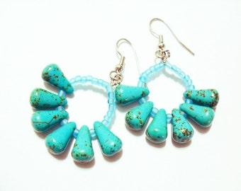 Turquoise Sea Anemone Hoop Earrings, Sea Anemone Earrings, Firework Earrings, Turquoise Earrings, Unique Earrings, Turquoise Jewelry