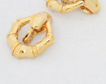 Earrings - Vintage 1980s Monet Hoop drop gold metal