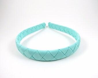 Aqua Headband - Aquamarine Headband - Blue - Ribbon Braided Woven Headband - Child Toddler Teenager Adult Headband - One size fit most