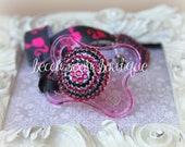 Bling Hot Pink Rhinestone Pacifier Dummy