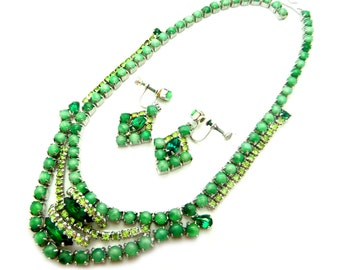 Stunning Vintage 1950's Rhodium Plated Green Satin Glass, Emerld Green and Chartreuse Rhinestone Demi Parure Necklace and Earrings