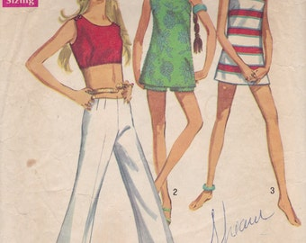Easy Crop Top or Tunic & Pants Pattern Simplicity 8214 Size 9