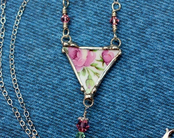 Broken China Jewelry Triangle Pendant Necklace Pink Roses Sterling Silver Chain
