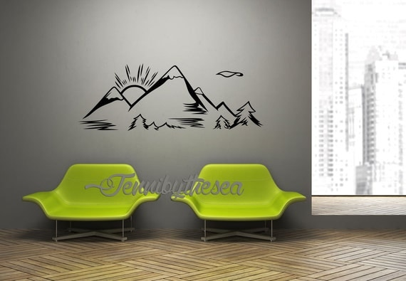 wall decal vinyl sticker decals mountain range art. Black Bedroom Furniture Sets. Home Design Ideas